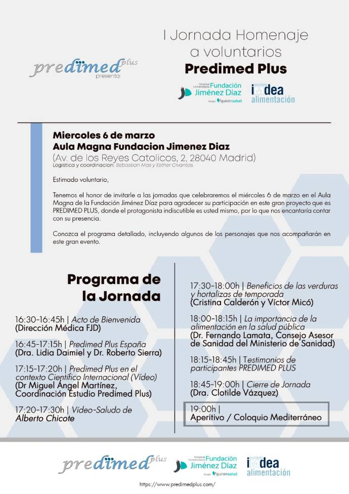 Programa Jornada tarde Homenaje voluntarios Estudio Predimed Plus